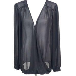Torrid Sheer Long Sleeve Black Surplice Blouse 2X